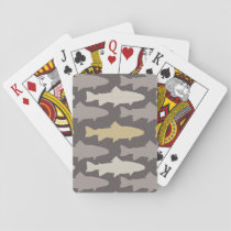 Yellow and Gray Fun Trout Fish Pattern Playing Cards