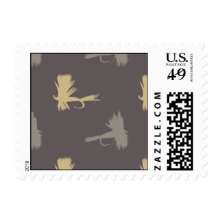 Yellow and Gray Fun Trout Fish Pattern Postage Stamps