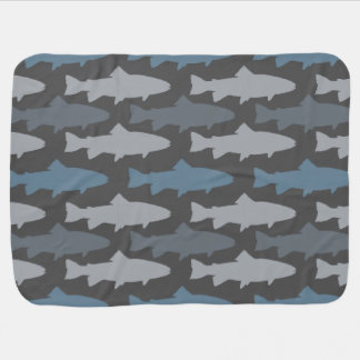 Yellow and Gray Fun Trout Fish Pattern Receiving Blanket