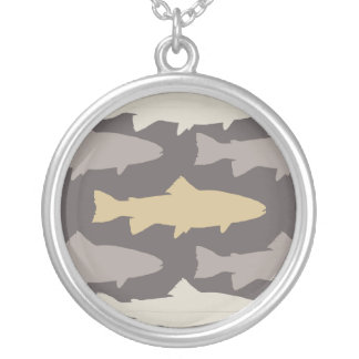 Yellow and Gray Fun Trout Fish Pattern Silver Plated Necklace