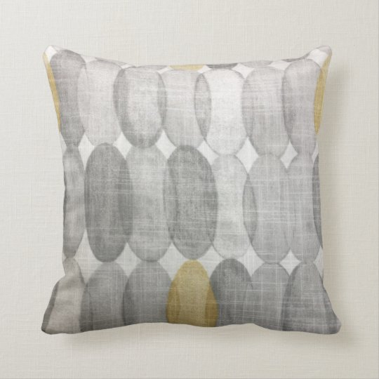 Yellow and Gray Geometric Oval Circle Modern Throw Pillow