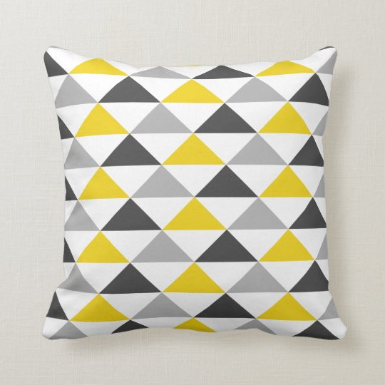Yellow And Gray Geometric Pattern Throw Pillow Zazzle Com