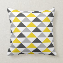 Yellow and Gray Geometric Pattern Throw Pillow
