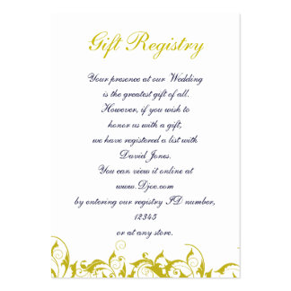 """yellow and gray""Gift registry  Cards Large Business Cards (Pack Of 100)"