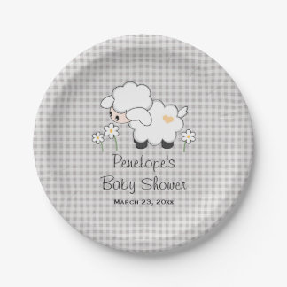 Yellow and Gray Gingham Lamb Baby Shower Paper Plate