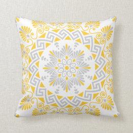 Yellow and Gray Greek Key Meander Mandala Pattern Throw Pillow