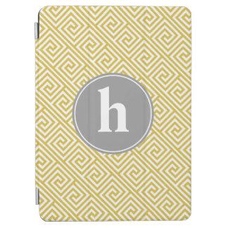 Yellow and Gray Greek Key Pattern Monogram iPad Air Cover