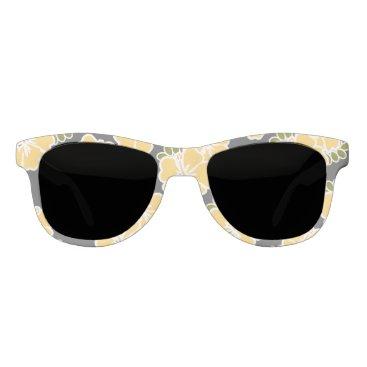Beach Themed Yellow and Gray Hibiscus Sunglasses