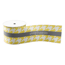Yellow and Gray Houndstooth Pattern Custom Name Grosgrain Ribbon