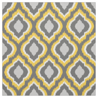 Yellow and Gray Ikat Moroccan Fabric