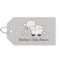 Yellow and Gray Lamb Baby Shower Favor Gift Tags