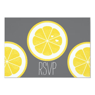 YELLOW AND GRAY LEMOM THEMED RSVP RESPONSE CARDS