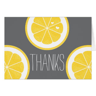 YELLOW AND GRAY LEMON HEART SEED WEDDING THANK YOU CARD