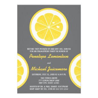 YELLOW AND GRAY LEMON THEMED ENGAGEMENT PARTY CUSTOM INVITATIONS