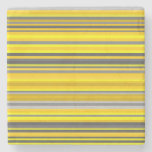 [ Thumbnail: Yellow and Gray Lines/Stripes Pattern Coaster ]