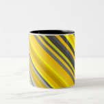 [ Thumbnail: Yellow and Gray Lines/Stripes Pattern Coffee Mug ]