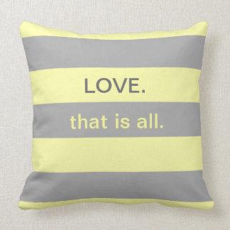 Yellow and Gray Love Beach Stripe Pillows