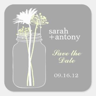 Yellow and Gray Mason Jar and Flowers Wedding Square Sticker
