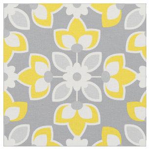 Yellow And Gray Modern Fl Geometric Fabric