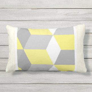 Yellow and Gray Modern Geometric Pattern Throw Pillows