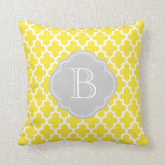 Yellow and Gray Modern Moroccan Custom Monogram Pillows