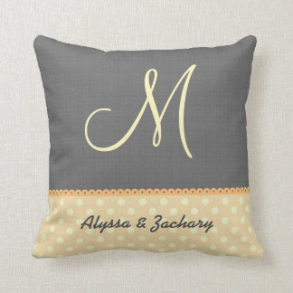 Yellow and Gray Modern Wedding Monogram A11D Throw Pillow