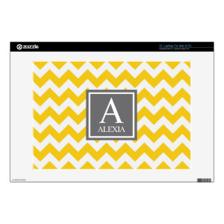 Yellow and Gray Monogram Chevron Print Decal For Laptop