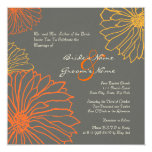 "Yellow and Gray Mum Flowers Wedding Invitation 5.25"" Square Invitation Card"