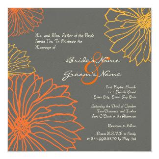 "Yellow and Gray Mum Flowers Wedding Invitation 5.25"" Square Invitation Card"