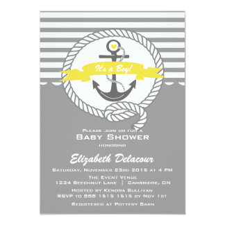 yellow and gray invitations  announcements  zazzle, Baby shower invitations