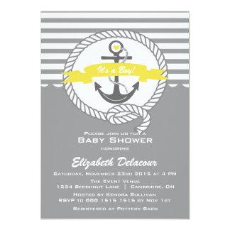 Yellow and Gray Nautical Baby Shower Invitation