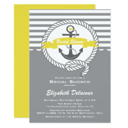 Yellow and Gray Nautical Bridal Shower Invitation