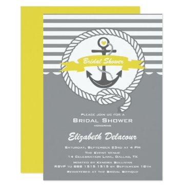 Beach Themed Yellow and Gray Nautical Bridal Shower Invitation