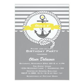 Yellow and Gray Nautical Kids Birthday Invitation
