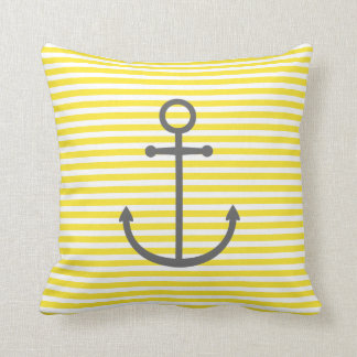 Yellow and Gray Nautical Stripes and Cute Anchor Throw Pillow