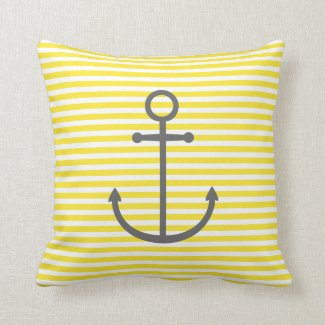 Yellow and Gray Nautical Stripes and Cute Anchor Throw Pillows