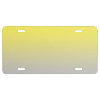 """""""Yellow And Gray Ombre"""" License Plate"""