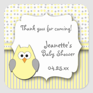 Yellow and Gray owl baby shower favor stickers