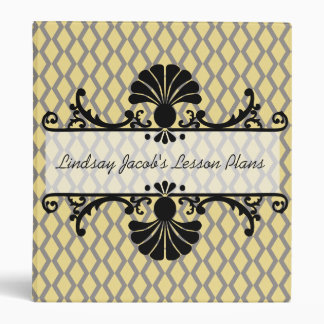 Yellow and Gray Patterned Teacher  Binder