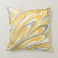 'Yellow and Gray Petals' Throw Pillow