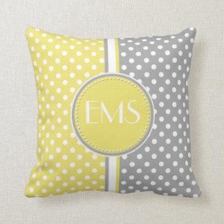 Yellow and Gray Polka Dot Monogram Pillow