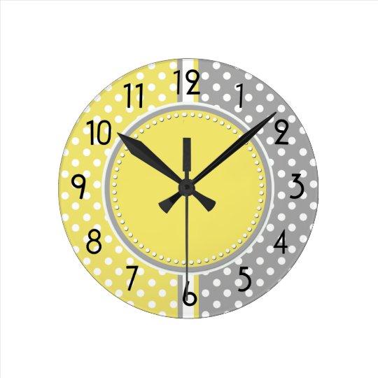 Yellow and Gray Polka Dots Clock