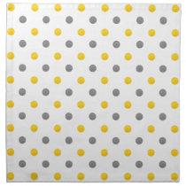Yellow and Gray Polka Dots Cloth Napkin