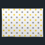 """Yellow and Gray Polka Dots Placemat<br><div class=""""desc"""">Printed with original watercolor polka dots.</div>"""