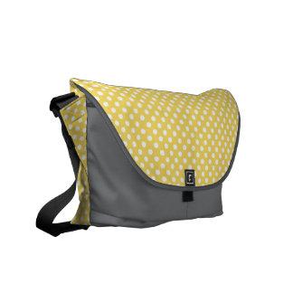 Yellow and Gray Polka Dots Rickshaw Messenger Bag