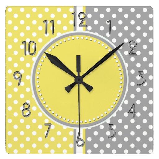 Yellow and Gray Polka Dots Square ClockYellow And Gray Polka Dots