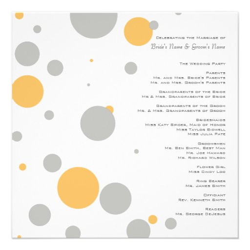 Yellow and Gray Polka Dots Wedding Program Custom AnnouncementYellow And Gray Polka Dots