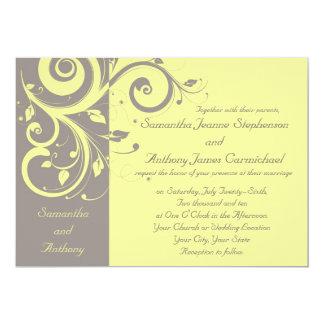 Yellow and Gray Reverse Swirl Wedding Invitations