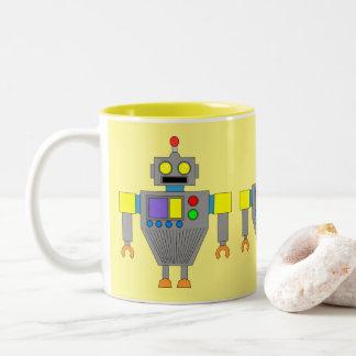 YELLOW AND GRAY ROBOT TOY Two-Tone COFFEE MUG
