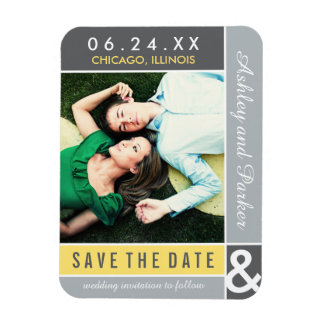 Yellow and Gray Save the Date | Modern Colorblock Rectangular Photo Magnet